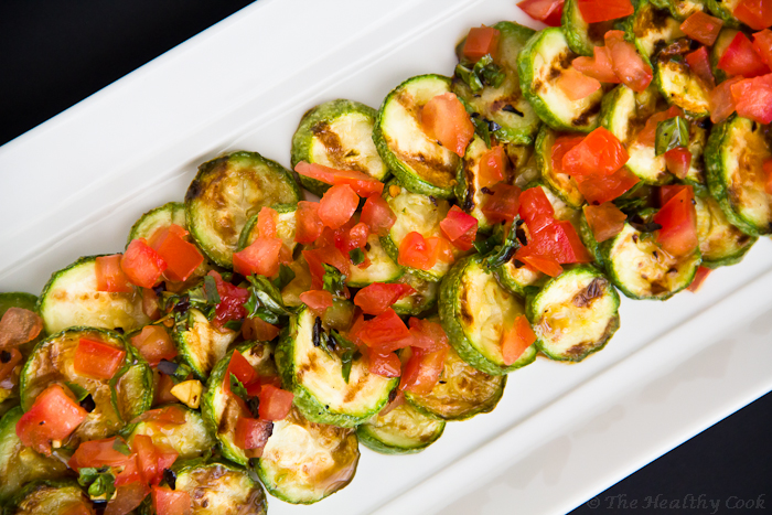 Crilled Zucchini Salad with Τomato and Mint – Σαλάτα με ψητά Κολοκυθάκια, Τομάτα και Μέντα