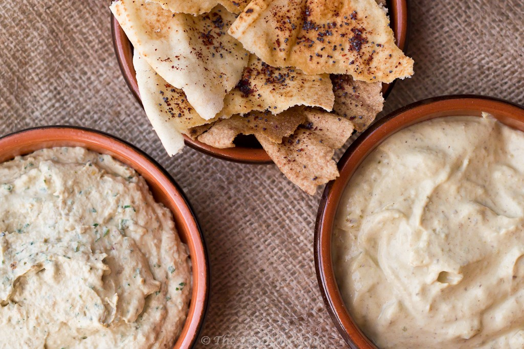 5 Healthy Dips - Arabic Bread Chips