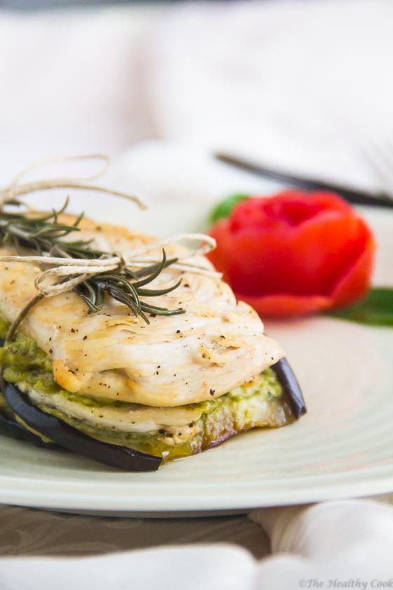 Chicken & Eggplants with a Pesto Sauce – Κοτόπουλο με Μελιτζάνες και Σάλτσα Πέστο